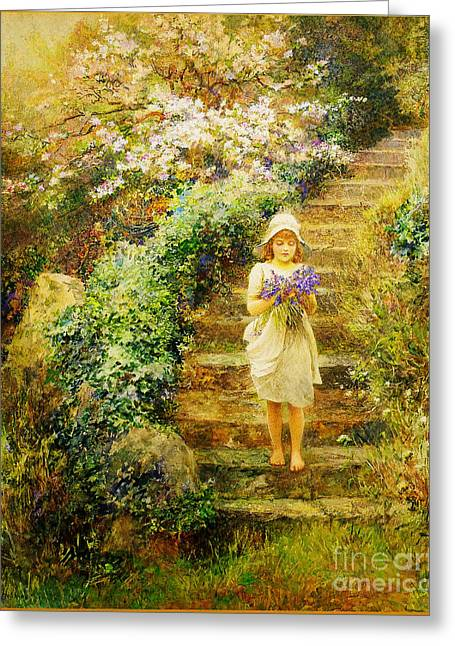A Young Girl Carrying Violets Greeting Card by Celestial Images