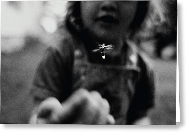 A Young Girl Reaches Out For A Firefly Greeting Card by Stephen Alvarez