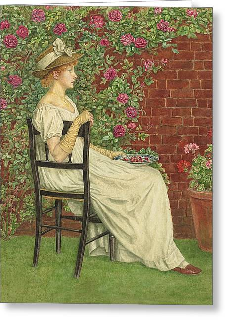 A Young Girl Seated In A Chair, A Bowl Of Cherries In Her Hand Greeting Card by Kate Greenaway