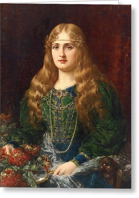 A Young Lady In A Historical Costume Greeting Card by Ignace Spiridon