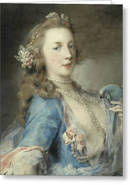A Young Lady With A Parrot Greeting Card by Rosalba Giovanna Carriera