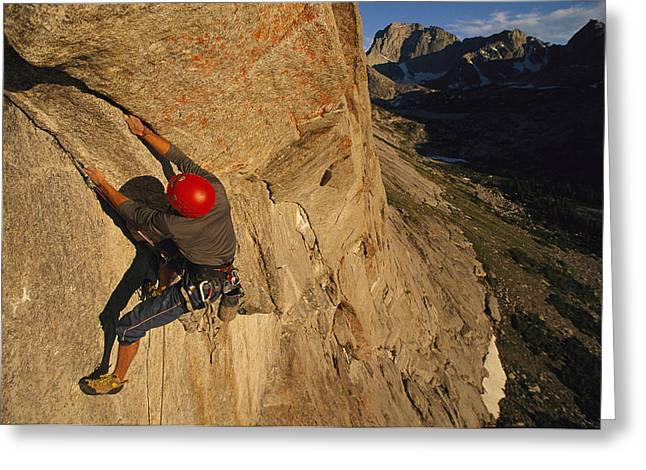 Sportswear Greeting Cards - A Young Man Climbing The North Tower Greeting Card by Bobby Model
