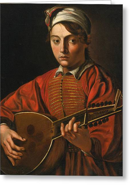 A Young Man Playing A Lute Greeting Card