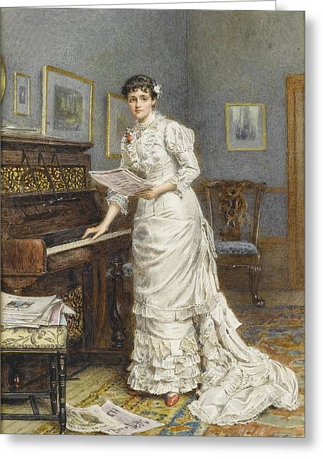 A Young Woman At A Piano Greeting Card by MotionAge Designs