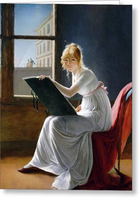 A Young Woman Drawing  Greeting Card by Georgiana Romanovna