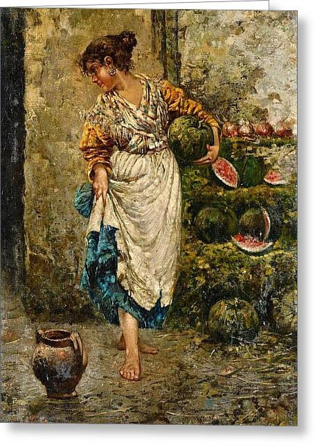 A Young Woman With Watermelons Greeting Card