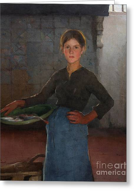 A Zandvoort Fishergirl Greeting Card by Elizabeth Adela Stanhope Forbes