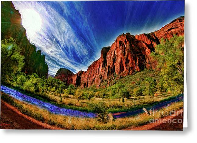 A Zion Road Side View Greeting Card by Blake Richards