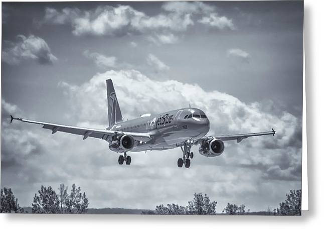 A320 On Approach Greeting Card by Guy Whiteley