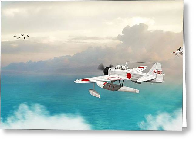 Greeting Card featuring the digital art A6m2-n Sea Plane by John Wills