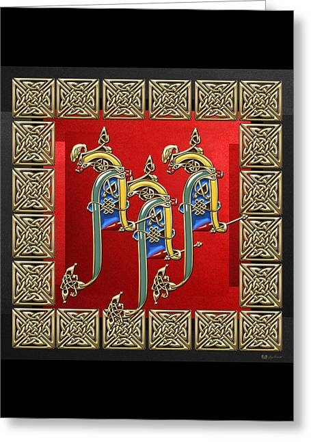 A A A - Ancient Celtic Monogram On Red And Black Greeting Card