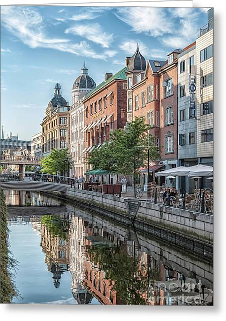 Aarhus Afternoon Canal Scene Greeting Card by Antony McAulay