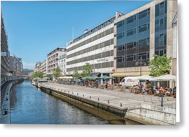 Aarhus Canal Activity Greeting Card by Antony McAulay