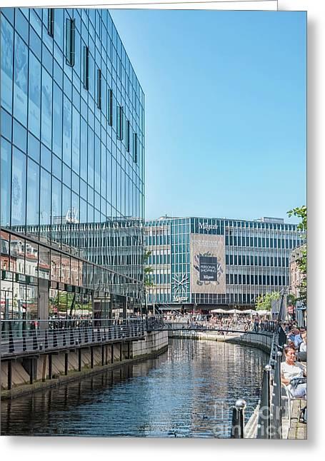 Aarhus Lunchtime Canal Scene Greeting Card by Antony McAulay