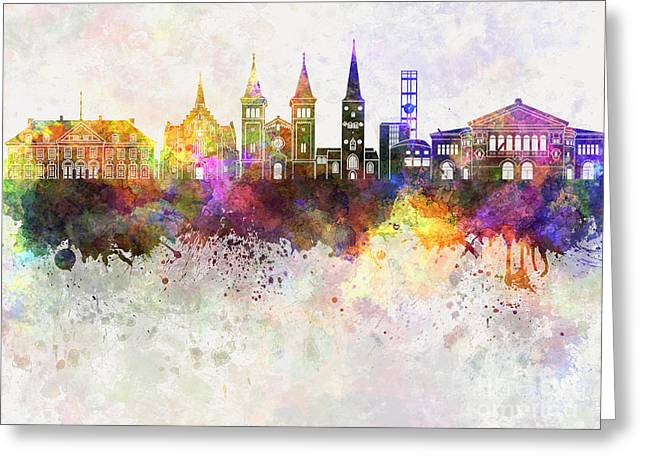 Aarhus Skyline In Watercolor Background Greeting Card by Pablo Romero