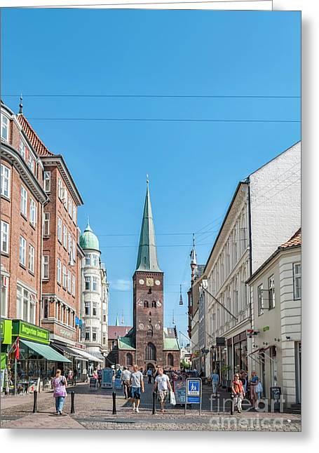 Aarhus Street Scene Greeting Card by Antony McAulay