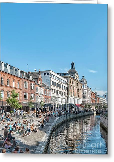 Aarhus Summertime Canal Scene Greeting Card by Antony McAulay