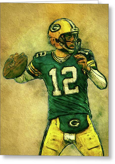 Aaron Rodgers Green Bay Packers Greeting Card by Jack Zulli