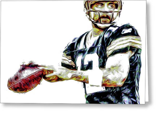 Aaron Rodgers Green Bay Packers Painted Greeting Card by David Haskett