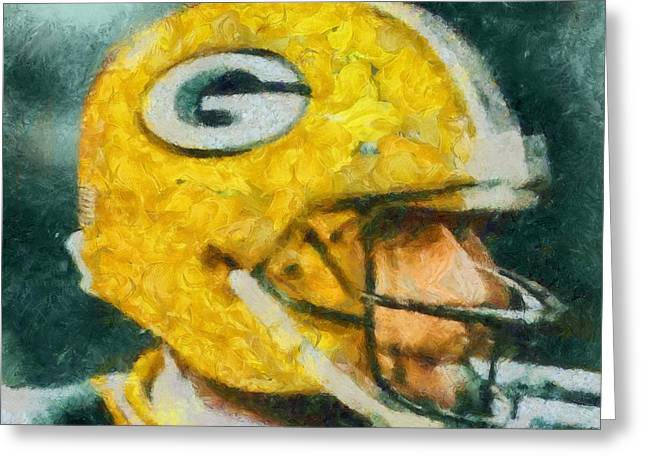 Aaron Rodgers Helmet Abstract Greeting Card by Dan Sproul