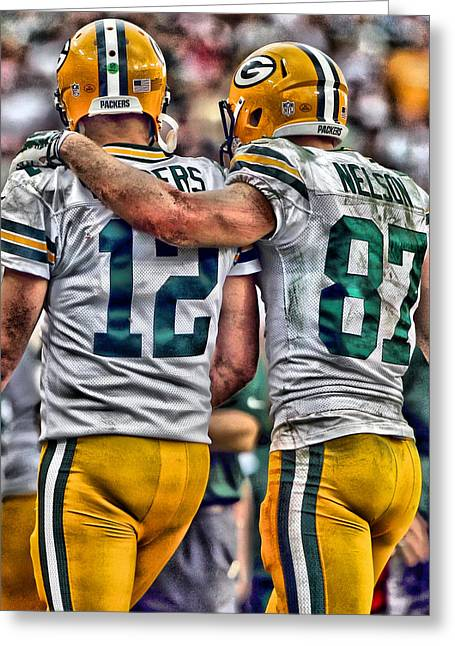 Aaron Rodgers Jordy Nelson Green Bay Packers Art Greeting Card