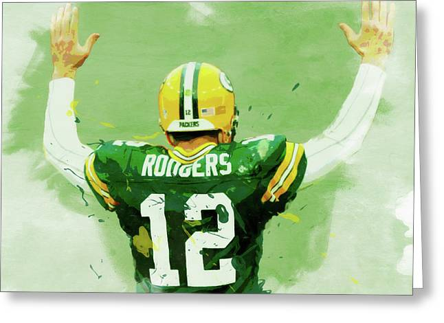 Aaron Rodgers Watercolor Greeting Card by Dan Sproul
