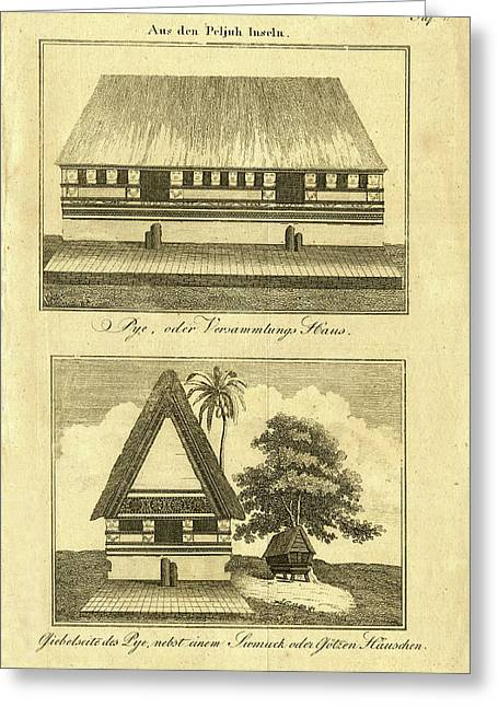 Greeting Card featuring the drawing Abai On Palau by Artist Unknown