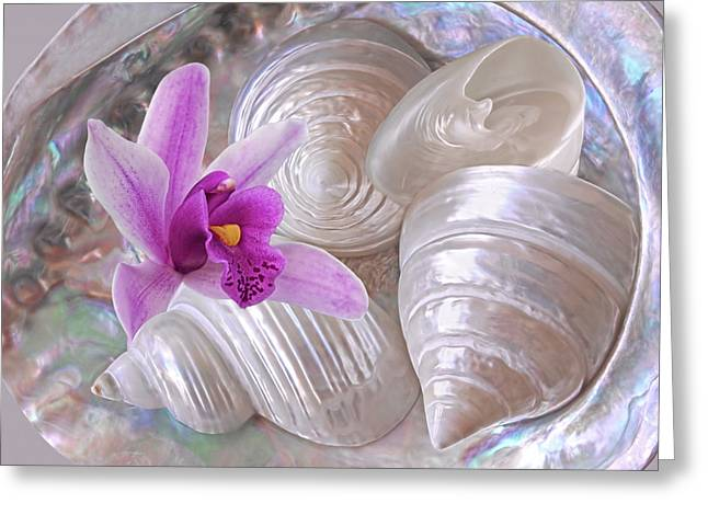 Abalone With Pearl Shells And Purple Orchid Greeting Card by Gill Billington