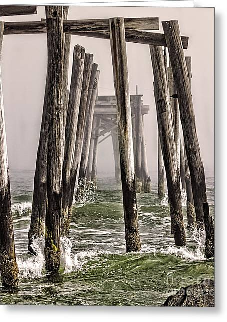 Abandon Pier Thru The Fog Greeting Card
