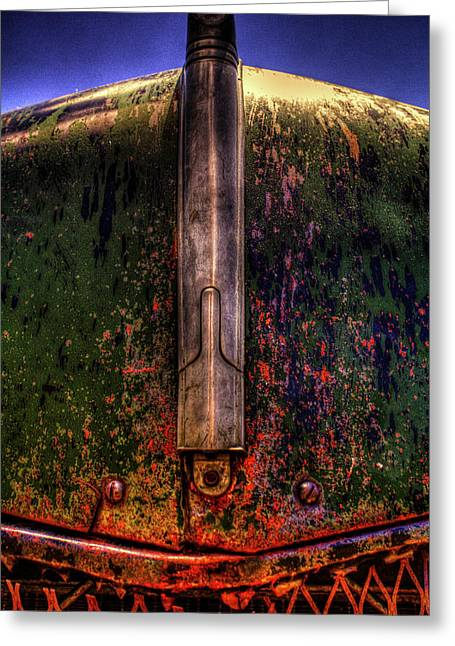Abandoned 1937 Chevrolet Coupe Hood Detail Greeting Card