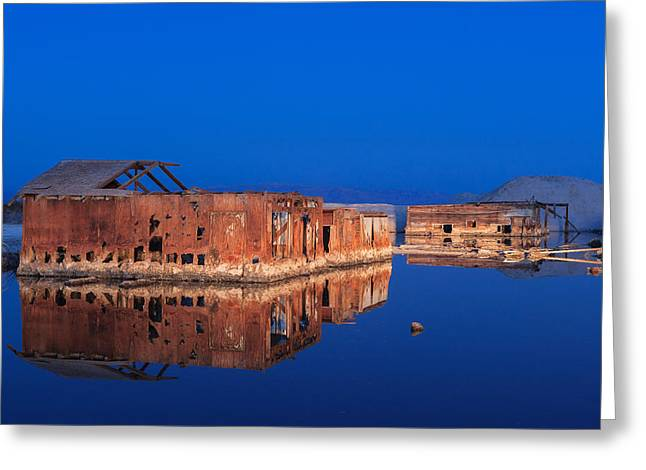 Abandoned And Sunken House And Reflection Greeting Card