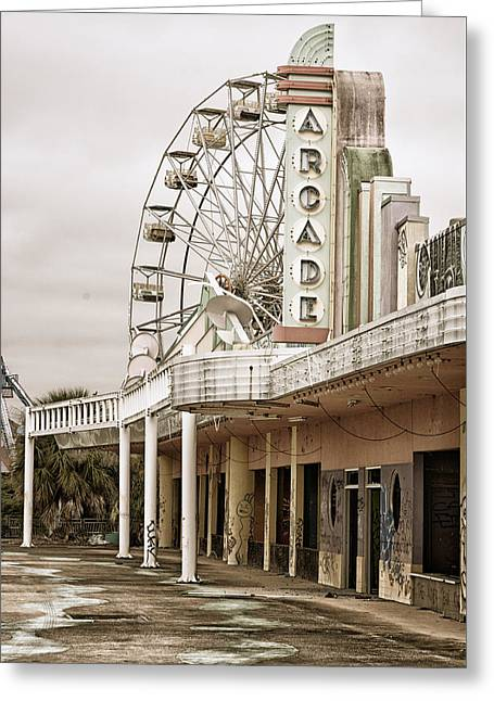 Abandoned Arcade And Ferris Wheel Greeting Card