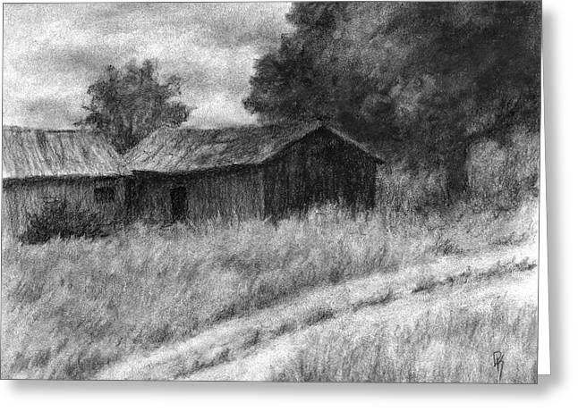 Greeting Card featuring the drawing Abandoned Barns by David King