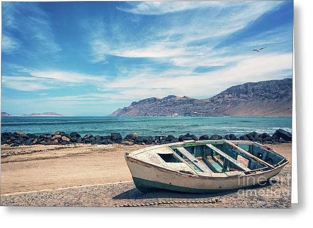 Abandoned Boat Greeting Card by Delphimages Photo Creations