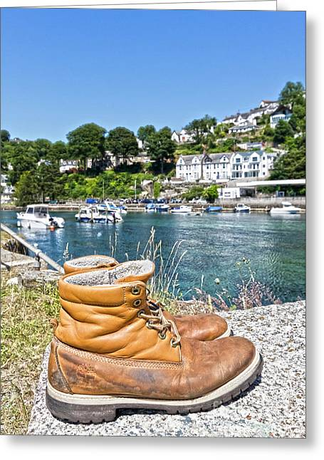 Abandoned Boots Portrait Greeting Card