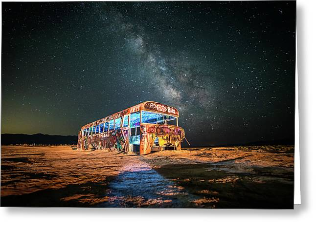 Abandoned Bus Under The Milky Way Greeting Card