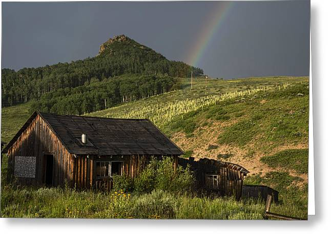 Abandoned Cabin And Rainbow 2 Greeting Card by Dave Dilli