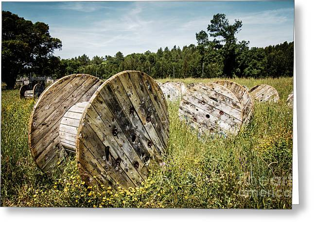 Abandoned Cable Reels Greeting Card by Carlos Caetano