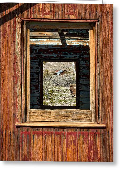 Abandoned Caboose Windows Greeting Card