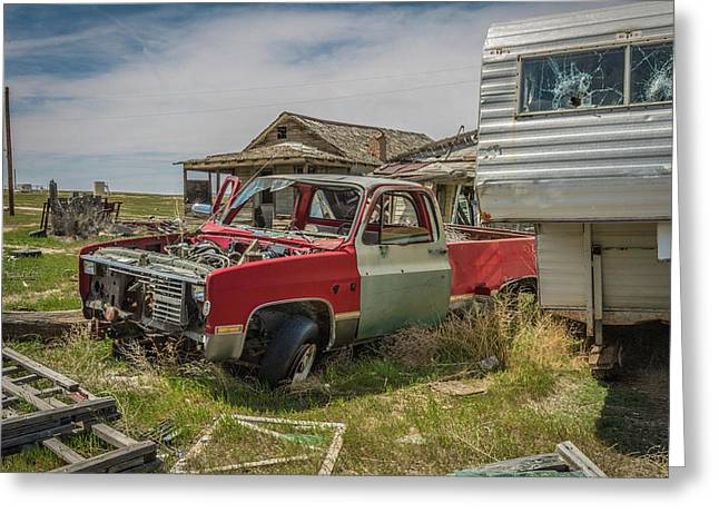 Abandoned Car And Trailer In The Ghost Town Of Cisco, Utah Greeting Card