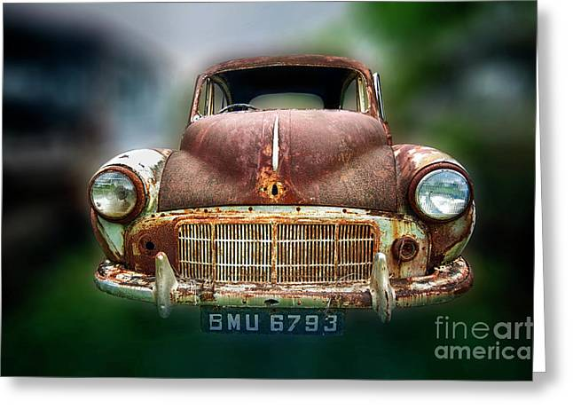 Greeting Card featuring the photograph Abandoned Car by Charuhas Images