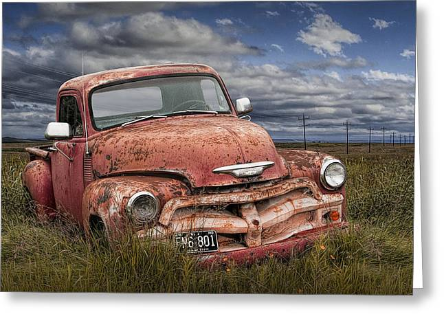Abandoned Chevy Pickup Truck On The Prairie Greeting Card by Randall Nyhof