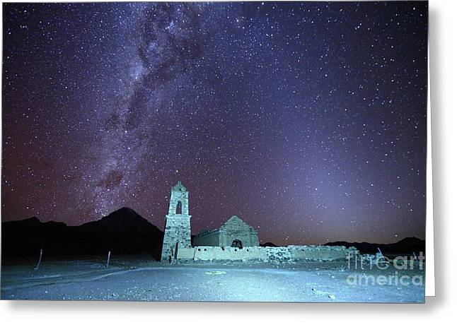 Abandoned Church Milky Way And Zodiacal Light Bolivia Greeting Card by James Brunker