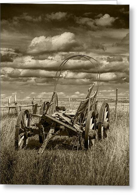 Abandoned Covered Wagon In Sepia Tone Greeting Card by Randall Nyhof