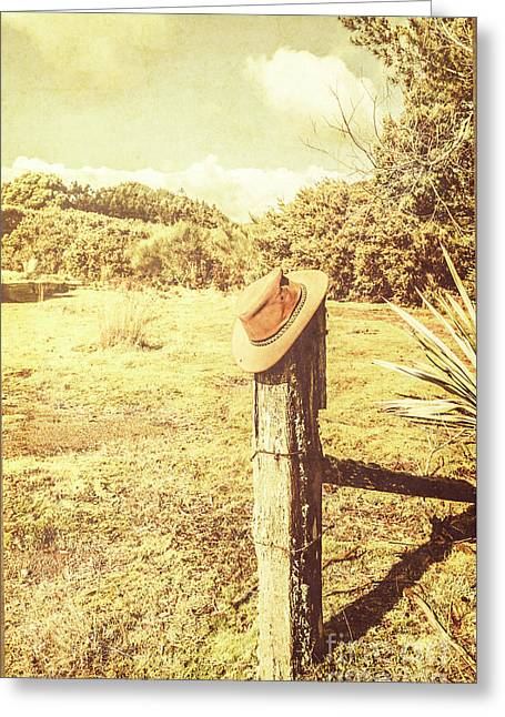Abandoned Cowboy Hat On Tree Trunk Greeting Card by Jorgo Photography - Wall Art Gallery