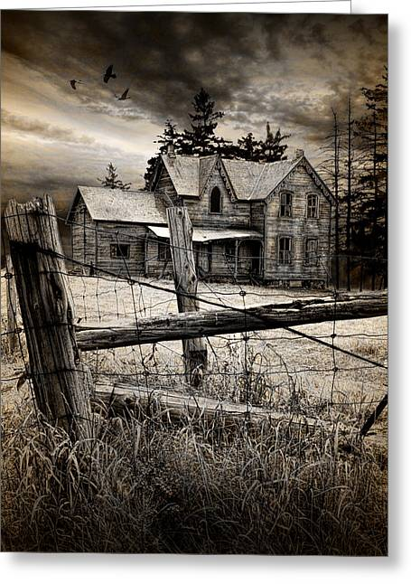 Abandoned Farm House Greeting Card by Randall Nyhof