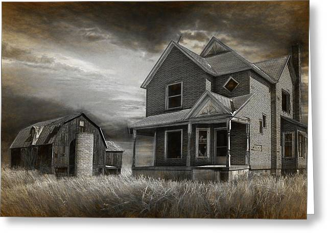 Abandoned Farm In Black And White Greeting Card