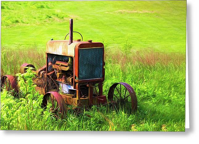 Abandoned Farm Tractor Greeting Card