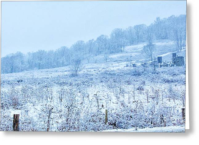 Abandoned Farm Winter Storm Greeting Card by Randy Steele