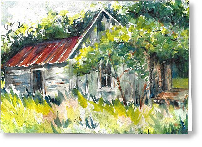 Abandoned Farmhouse In The Ozark Mountains On The Gravel Road To Hawk's Bill Crag At Whitaker Point Greeting Card